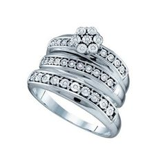 New BrianG | Micro Pave Diamond Engagement Collection 10k White Gold 0.12 Cttw Diamond Miro-pave Fanuk Wedding Band Engagement Ring Trio Set