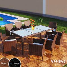Swing&Harmonie Polyrotan-Tafel en Stoelen voor 8 Personen - Nu met korting bij Lesara