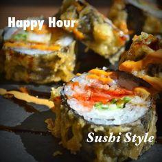 NÛ does #happyhour - #sushi style! Weekdays 2:30-6:30 sushi rolls $9, $5 #localbeer, $5 select #wine. #nubsb #yyceats