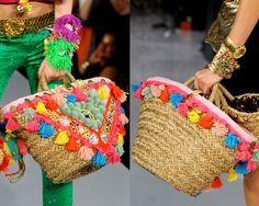 #coffasiciliana coffa, borsa in palma nana decorata con nappine e pom pom colorati  #handmade #diy #idee #fattoamano #sicilia
