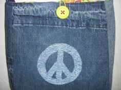 Recycled Blue Jean Peace Purse by jeanoligy on Etsy, $15.00