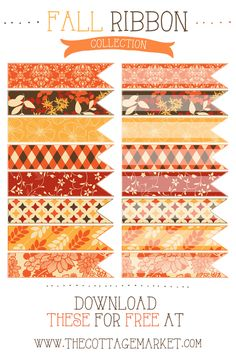 Do you know what tomorrow is? It's the first day of Fall! So to celebrate the cool air…the beautiful shades of trees that are forever changing…apple picking…pumpkins…baking and all that is good…I have a little gift for you today. Pretty digital ribbons that you can decorate your blog with…add to your digital scrapping creations…use as …