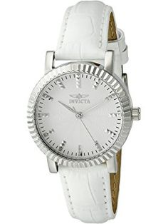 Invicta Women's 'Angel' Quartz Stainless Steel and White Leather Casual Watch (Model: 22482) ❤ Invicta