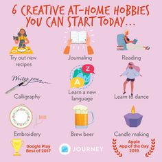 Pick up at-home hobby will not only allow you to tap into your more creative side, it can help release any bottled-up energy. Self Care Bullet Journal, What To Do When Bored, Vie Positive, Mental Health Journal, Get My Life Together, Self Care Activities, Self Improvement Tips, Learn To Dance, Self Care Routine