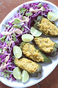 Plantain Stuffed Poblano Peppers with Slaw and Chipotle Cream | Wheat-Free Meat-Free