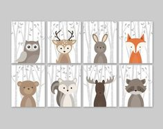 Baby Nursery Art Woodland Nursery Animals Baby Room by YassisPlace