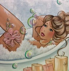 Cute painting for a bathroom. Lady in a bubble bath. Galerie d'Art Christine Genest