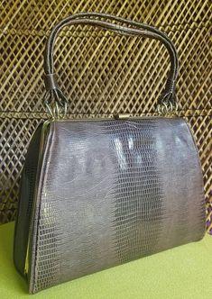 Vintage Faux Alligator Skin Purse Brown Handbag by Dover Orange Sweaters, Cute Sweaters, Pocket Books, Vintage Items, Vintage Clothing, Vintage Outfits, My Etsy Shop, Tote Bag, Handbags