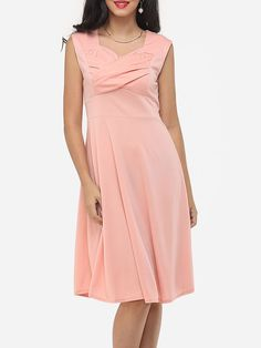 Plain Zips Courtly Asymmetric Neckline Skater-dress