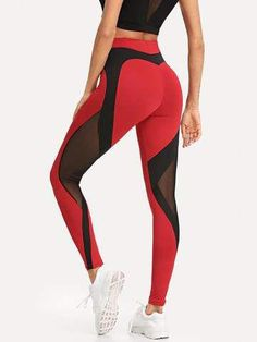 Contrast Mesh Skinny Leggings 2019 Pants Red Black Fitness Women Ankle Length Trousers Red S Mesh Yoga Leggings, Camouflage Leggings, Sports Leggings, Workout Leggings, Women's Leggings, Cheap Leggings, Printed Leggings, Black Leggings, Female Fitness