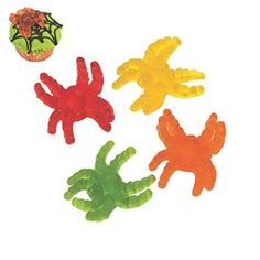46 Pcs. Gummy Tarantulas - Halloween Soft & Chewy Candy  Gummy Tarantulas. Eek! Spiders! These creepy tarantula-shaped candies make a sweet treat for Halloween night. Cherry, apple, lemon and orange flavors. Individually wrapped. (46 pcs. per unit; 1 lb.) Fat-free. Features : Gummy Tarantulas. *Cherry, apple, lemon and orange flavors. *46 pcs./unit *Fat-free. *Individually wrapped.