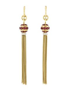 David Yurman Garnet & Diamond Tassel Earrings