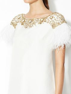 I want this BAD Crepe Ostrich Feather Cap Sleeve Dress by Marchesa Couture Couture Dresses, Bridal Dresses, Feather Fashion, Fashion Details, Women's Fashion, Marchesa, The Ordinary, Cap Sleeves, Evening Gowns