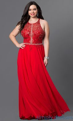 Shop long red plus-size formal dresses at Simply Dresses. Illusion evening dresses under $200 with beaded lace bodices and chiffon skirts.