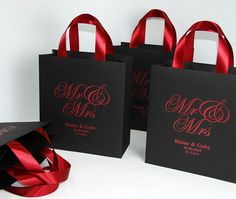 25 Wedding Welcome Bags with Burgundy satin ribbon handles and