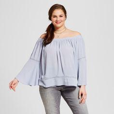 Women's Plus Size Off the Shoulder Top Blue 1X - Xhilaration, Light Blue