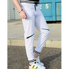 Fashion Lace-Up Color Block Rib Splicing Loose Fit Beam Feet Men's Polyester Sweatpants, WHITE, M in Pants | DressLily.com