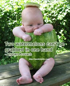 Two watermelons can't be grabbed in one hand - Afghan Proverb. For more Afghan Proverbs http://quotesmin.com/Afghan-proverb.php