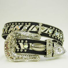 Black Hair on Hide Rhinestone Western Cowgirl Belt