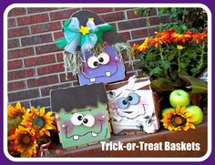 Halloween Candy Buckets with tutorial 2x4 Crafts, Halloween Wood Crafts, Halloween Painting, Halloween Signs, Halloween Candy, Cute Halloween, Holidays Halloween, Fall Crafts, Holiday Crafts