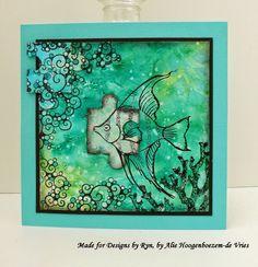 Stamped card, made for Designsbyryn.com by Alie Hoogenboezem-de Vries