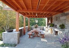 Rustic Outdoor Kitchen with extensive use of locally quarried granite - Camden, Maine