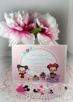 Party Invitation #disneyside Mickey & Minnie Tea Party or Valentine  Design by Maria Parrish minercia.com