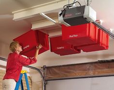 Garage Ceiling Bins-Off the floor and away from feet!