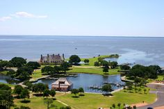 Outer Banks, North Carolina, US -- The Whalehead Club viewed from the top of the Curritcuck Beach Lighthouse.