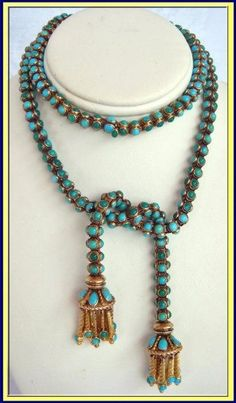 Antique Victorian necklace - yellow gold set with cabochon turquoise. Made in England 1830-1840. 18 inches long.