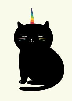 You're as wonderful as wonderful as a caticorn. Caticorn Art Print by Andy Westface Crazy Cat Lady, Crazy Cats, Wallpaper Gatos, Black Cat Art, Unicorn Cat, Poster Prints, Art Prints, Print Artist, I Love Cats