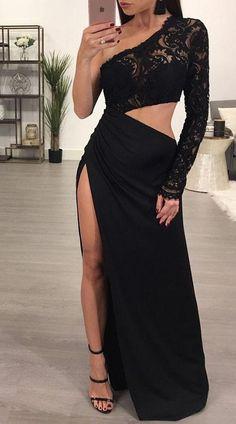 Lace One Shoulder/ High Split Maxi Dress Formal Dresses Online, Formal Evening Dresses, Elegant Dresses, Pretty Dresses, Beautiful Dresses, Evening Gowns, Dress Formal, Formal Gowns, Evening Party