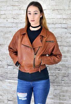 1980s+Vintage+Tan+Leather+Biker+Jacket