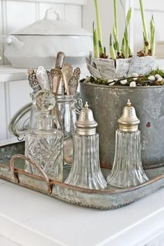 Glass silver onions. Dining room. White, Grey, Black, Chippy, Shabby Chic, Whitewashed, Cottage, French Country, Rustic, Swedish decor Idea. ***Pinned by oldattic ***