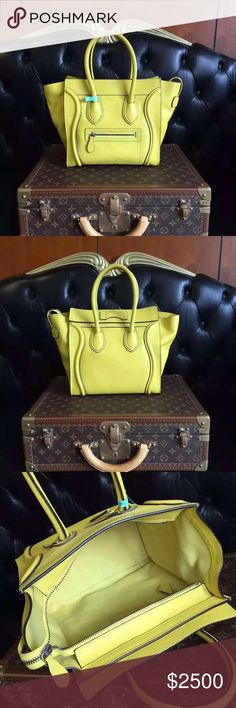 Auth Celine Micro Luggage Lemon Yellow Bag Pebbled 100% GUARANTEED AUTHENTIC OR 10X YOUR MONEY BACK!!  PHOTOS ARE TAKEN OF THE EXACT SAME ITEM YOU WILL RECEIVE! WHAT YOU SEE IS WHAT YOU GET*** PLEASE VISIT OUR WEBSITE AT WWW.AUTHENTICLUXURIESTW.COM or email me at authenticluxuries11@gmail.com for more detailed photos =). Celine Bags Totes