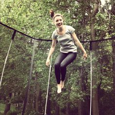 Jumping for joy in a beautifully green area! #Springfree #Trampoline