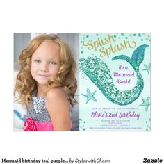 Shop Mermaid birthday teal purple gold glitter photo invitation created by StyleswithCharm. Mermaid Party Invitations, Photo Invitations, Mermaid Birthday, Girl Birthday, Birthday Parties, Glitter Photo, Gold Glitter, Purple Teal, Cards