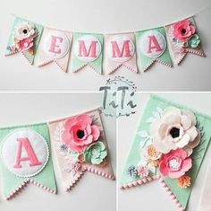 Personalized felt baby pennant banner name Custom Boho decor Bohemian Nursery Mint and pink Flags banner Pennant Banner Felt flowers Felt Crafts, Fabric Crafts, Diy And Crafts, Paper Crafts, Felt Flowers, Fabric Flowers, Paper Flowers, Felt Christmas, Christmas Projects