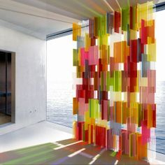 This captivating design is by DaSomm Choi for Yellow Goat Design is called Pxl. A contemporary and approach to a stain glass window. This wall of colored light and shadow is interactive and lifts my spirit up to the heavens! Glass Design, Wall Design, House Design, Modern Stained Glass, Stained Glass Windows, Modern Glass, Interior Architecture, Interior Design, Retail Design