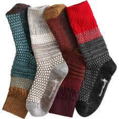 Women's SmartWool Popcorn Cable Crew Socks - Duluth Trading Light Gray, Acorn, or Red ($21.95)
