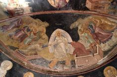 Photo about Ancient byzantine fresco of Jesus raising Adam and Eve from their tombs on the half dome of the church of saint chora in constantinople. Image of chora, adam, baptist - 12210939 Fresco, San Salvador, Historical Architecture, Art And Architecture, Tempera, Fall Of Constantinople, Ancient Greek Art, Biblical Art, Byzantine Art