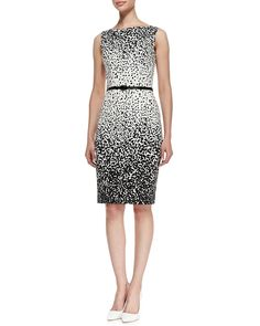 0100e6ab370 David Meister Sleeveless Dot-Print Belted Sheath Dress