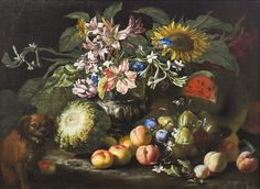 Fine Art - Painting, European:Antique (Pre Abraham Brueghel (Flemish, A still life of fruit andflowers in a footed gadrooned silver vase with . Still Life Fruit, Baroque, Auction, Vase, Fine Art, Antiques, Nature, Design, Paintings