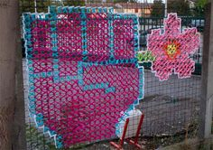 more at link - My Owl Barn: Cross-Stitch Murals on Chain Link Fences