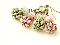 Mint or Rose color - Vintage style earrings with beadweaving beads by TyssHandmadeJewelry