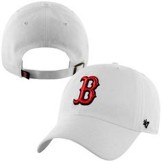 736aee7a Men's Boston Red Sox '47 Brand White Basic Logo Clean Up Loop Adjustable Hat