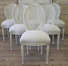 Set Of 6 French Cane Back Dining Chairs From Full Bloom Cottage