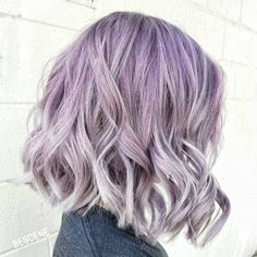 Wavy Pastel Purple Bob With Highlights