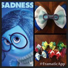 Disney Pixar's Inside Out, meet Sadness! Glasses are #handmade! @phyllissmith #sadness #disney #pixar #hairbows #hairbow #missmbowtique #missmaegansbowtique #insideout @disneystudios @missmbowtique