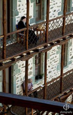 Τhe monks' cells (rooms) of Simonopetra Monastery, Mount Athos, Greece The Holy Mountain, Christian World, Go Greek, Greek Culture, Byzantine Art, Greek Islands, Beautiful Beaches, Italy Travel, Christianity